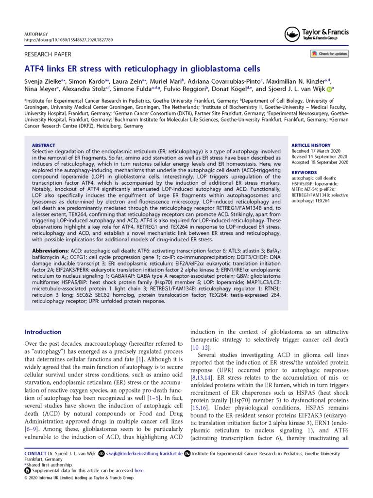 ATF4 links ER stress with reticulophagy in glioblastoma cells Sjoerd van Wijk