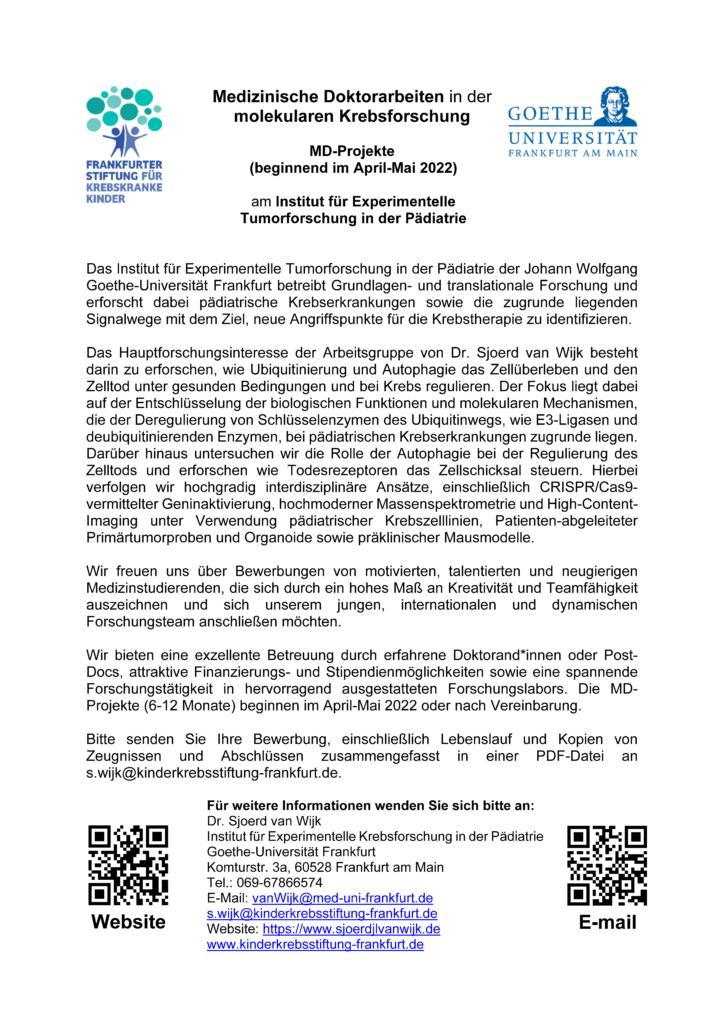 Medizin Doktorand Goethe Universität Frankfurt Sjoerd van Wijk ubiquitin autophagy